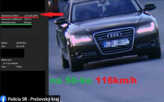 vodic v presove mal poriadne naponahlo povolenu rychlost v meste prekrocil az o 66 km h