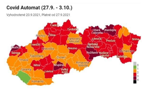 na slovensku od pondelka pribudnu bordove aj cervene okresy zeleny je uz iba jeden a oranzovych 34